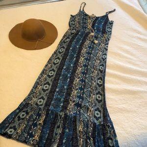 Love Stitch Long Blue Maxi Dress